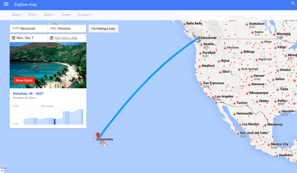 Google Flights - Map YVR HNL Carpe Diem travel blog