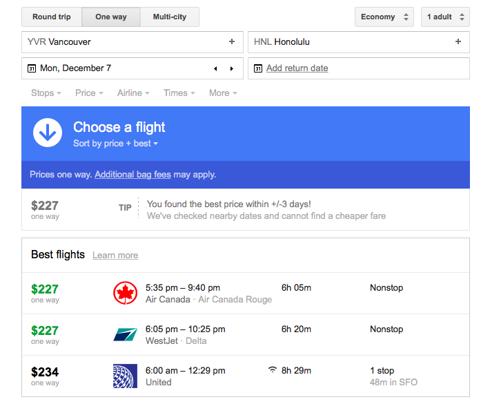 Google Flights Search - Carpe diem travel blog