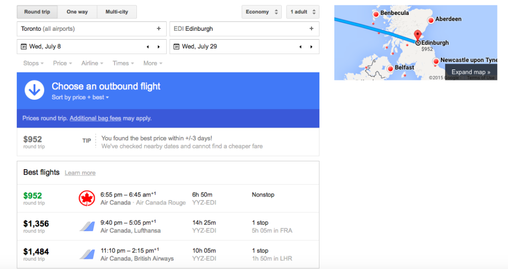 google flights - edinborough flights carpe diem 2