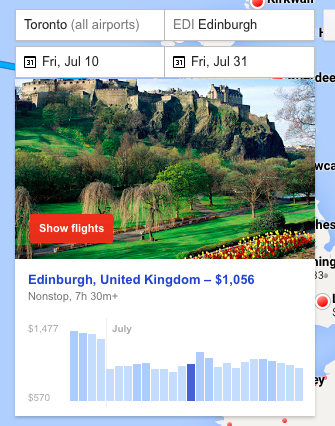 google flights - edinborough search carpe diem