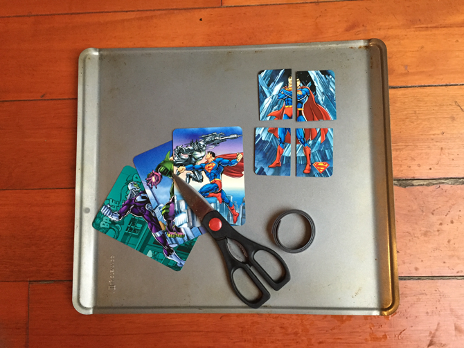 Magnetic Cookie Sheet, Scissors, Magnets (i used magnetic tape strips that already had adhesive) and puzzles or cut up flash cards