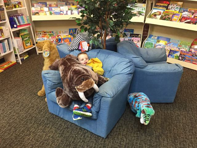 Lounging in the Reading Corner (i think Markus thought he was bringing this guy home!)