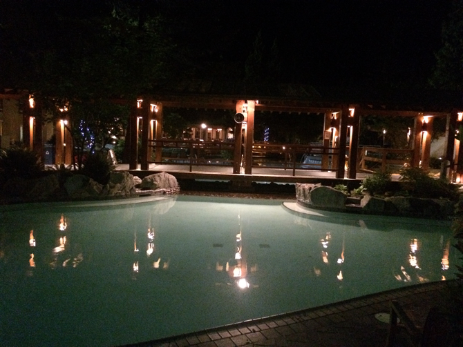 The Harrison Hot Springs Resort Pool at Dusk