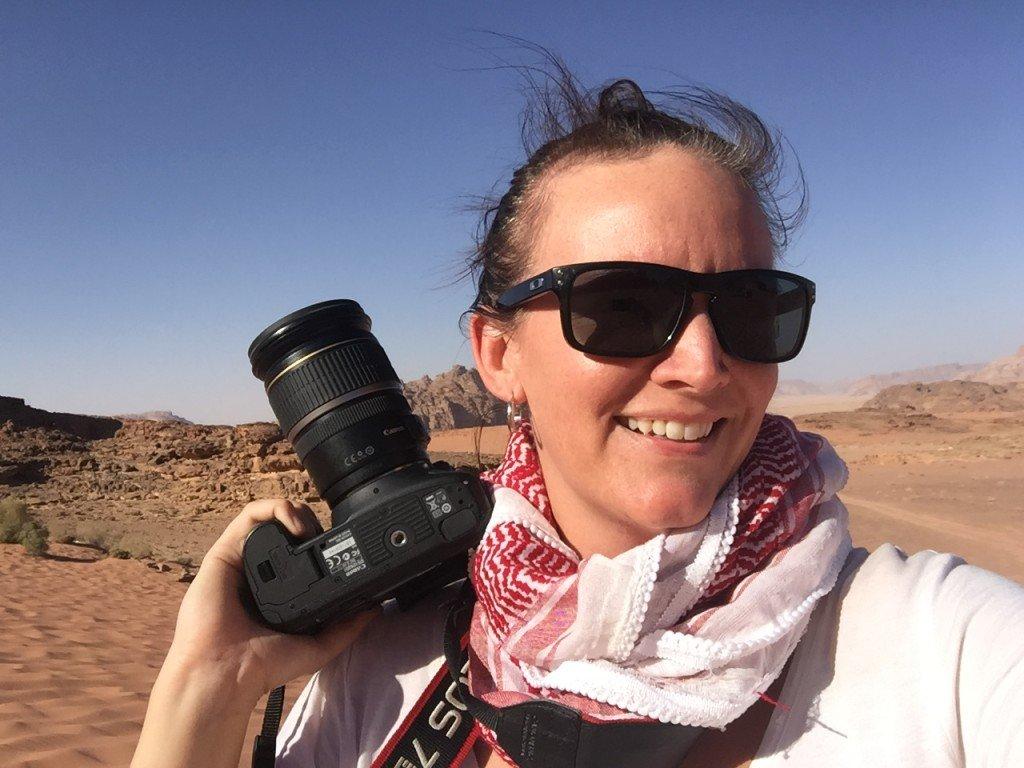 This is my Travel Face, Sunglasses and a Camera! Wadi Rum Desert, Jordan