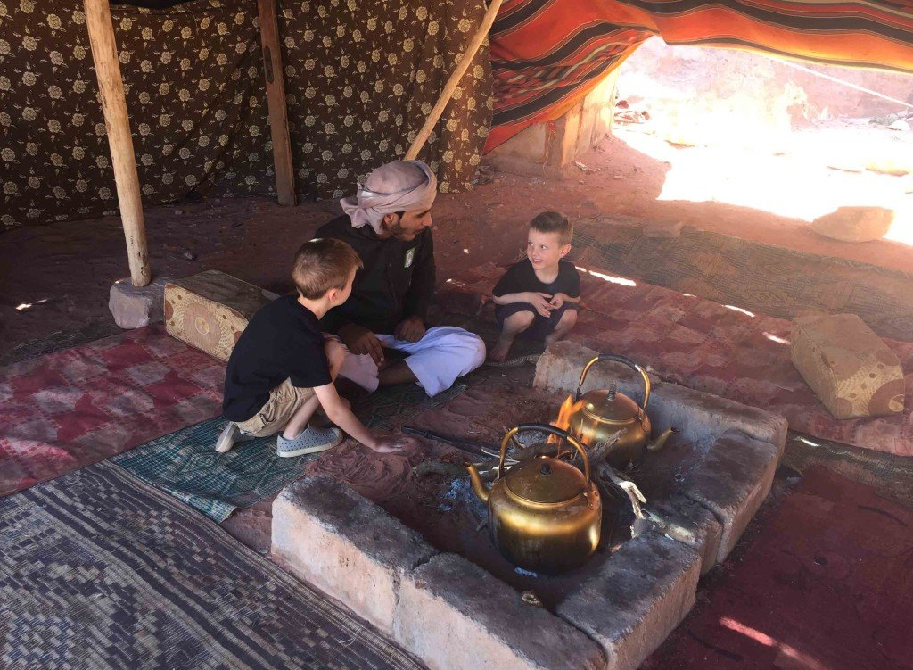 Enjoying Bedouin Tea in Wadi Rum, Jordan