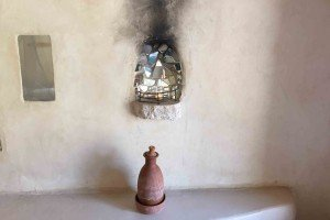 Clay Water Bottle in the Rooms and Candle Niche