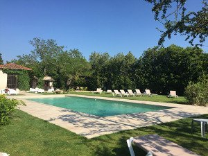 Family Friendly France Accommodation at Hotel L'Hermitage included a Pool by the Garden