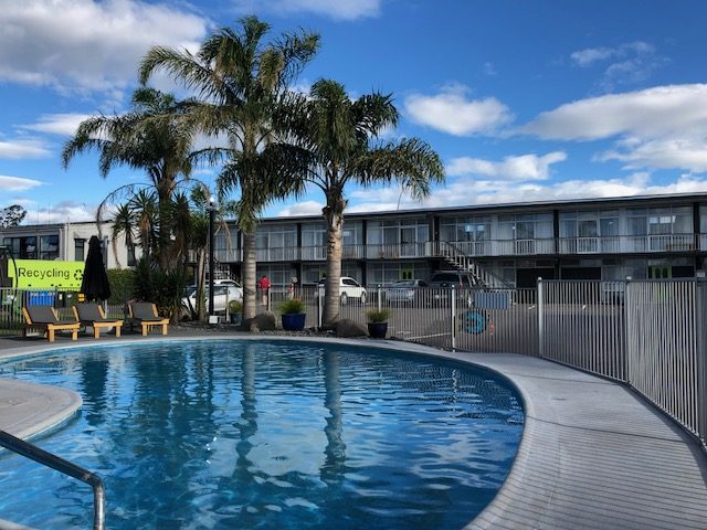 the geothermal heated pool at Aura Accommodation
