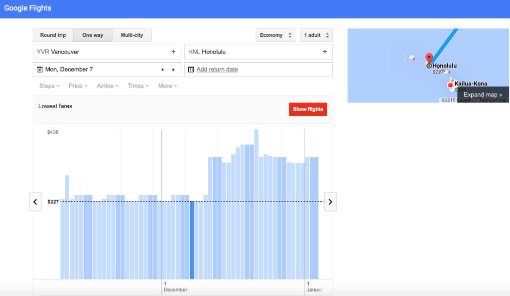 Google Flights graph - carpe diem family travel