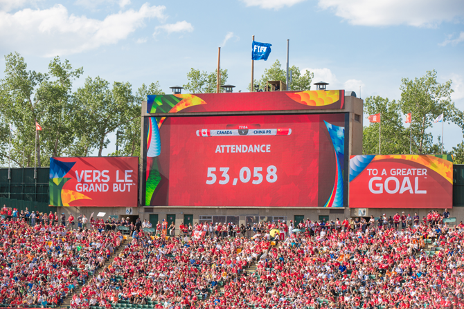 Attendance Records for National Soccer events were constantly broken during the FIFS Women's World Cup in Canada