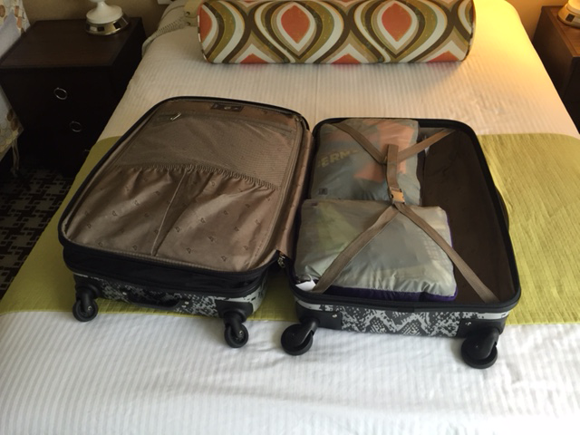 Two Large MEC Packing Cubes fit into one side of my suitcase!