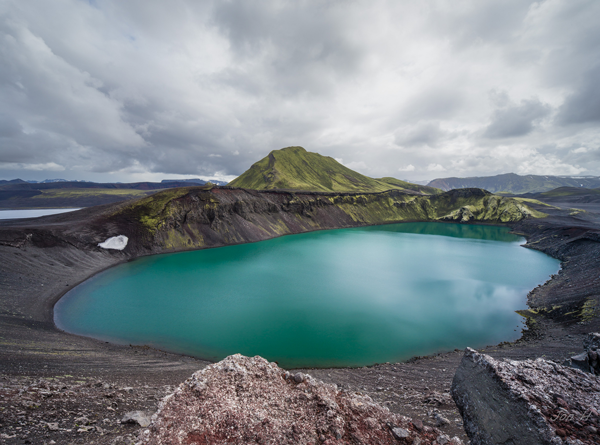 Hnausapollur Crater Lake in Iceland
