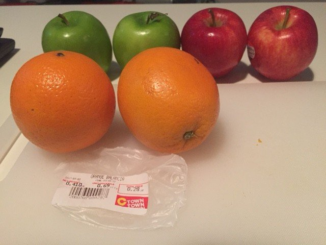 Oranges are cheap, Apples a bit more than in North America