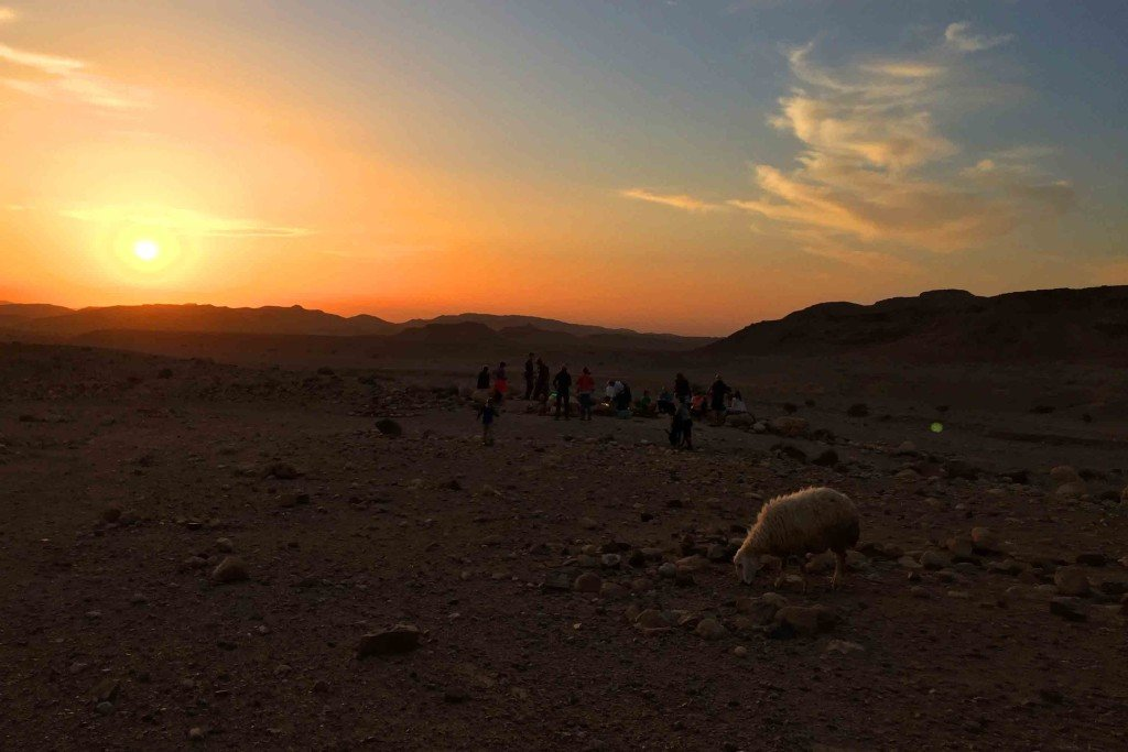 Watching the Sunset on our walk from Feynan Eco Lodge