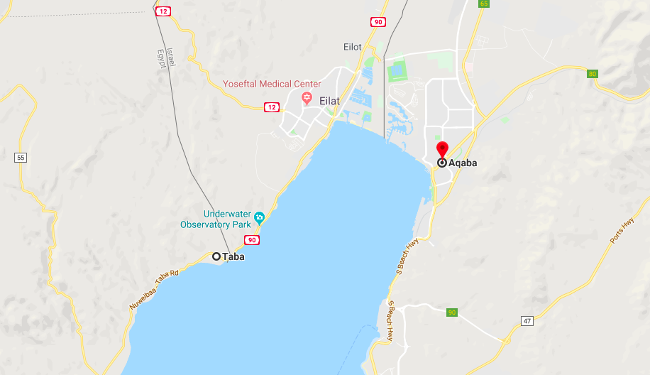 Aqaba and Taba on Map