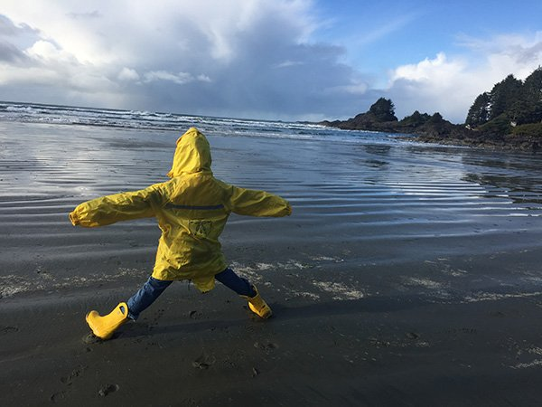 Cox Bay Beach Tofino with Rain Jacket and Gumboots!
