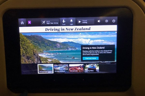 Driving in NZ information on Air New Zealand flights