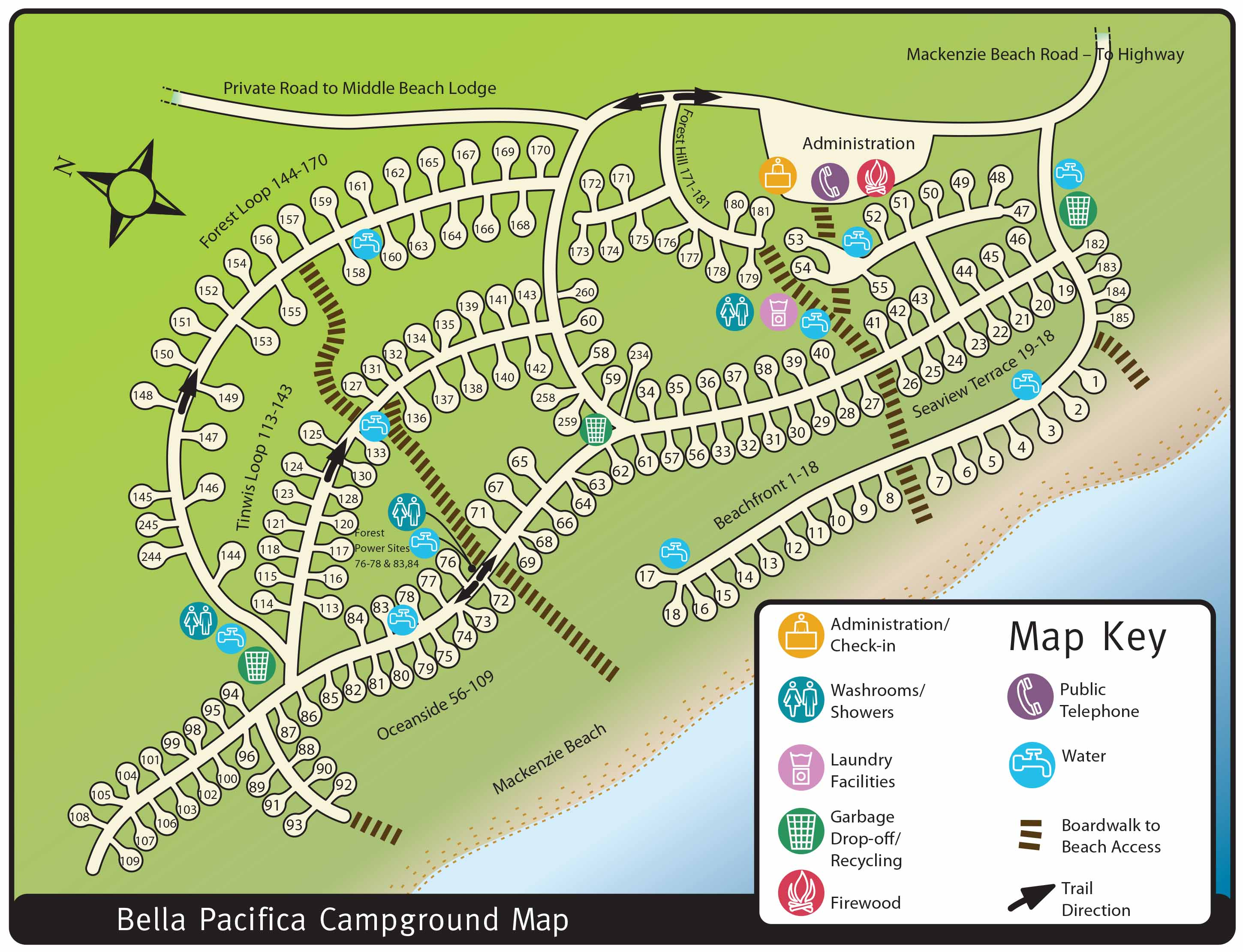 Bella Pacifica Campground Map
