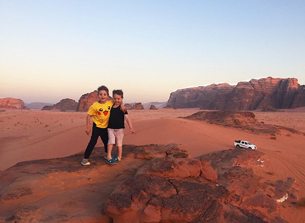 Wadi Rum Camps offer a variety of hiking options for guests. Consider a sunset hike and Jeep Tour