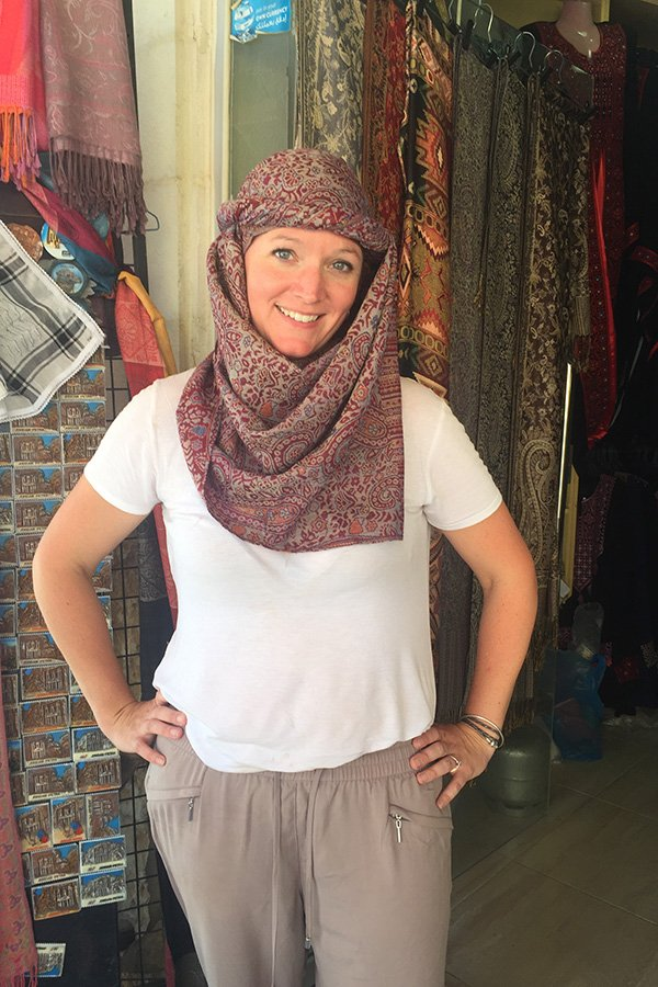 Traditionally Tied scarf for women in Jordan