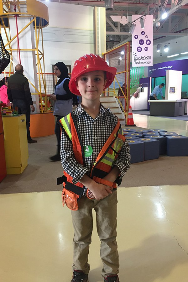 Playing in the Construction section of the Jordan Children's museum