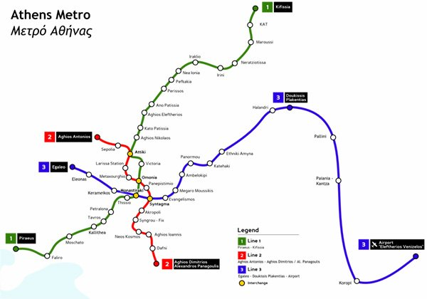 Athens Metro Map - Athens to Meteora by Train