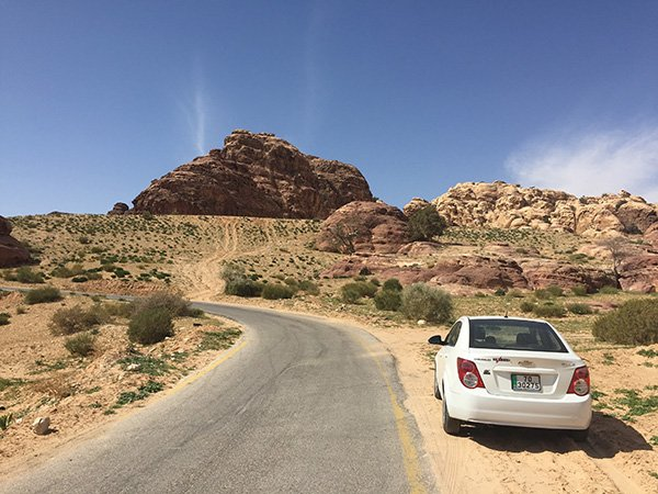 Driving from Wadi Musa to Feynan in Jordan