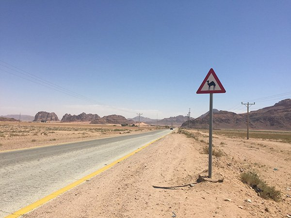 Driving in Jordan to Wadi Rum