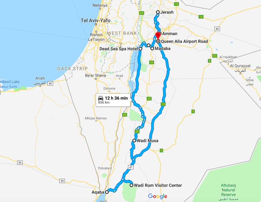 5 Days in Jordan Map