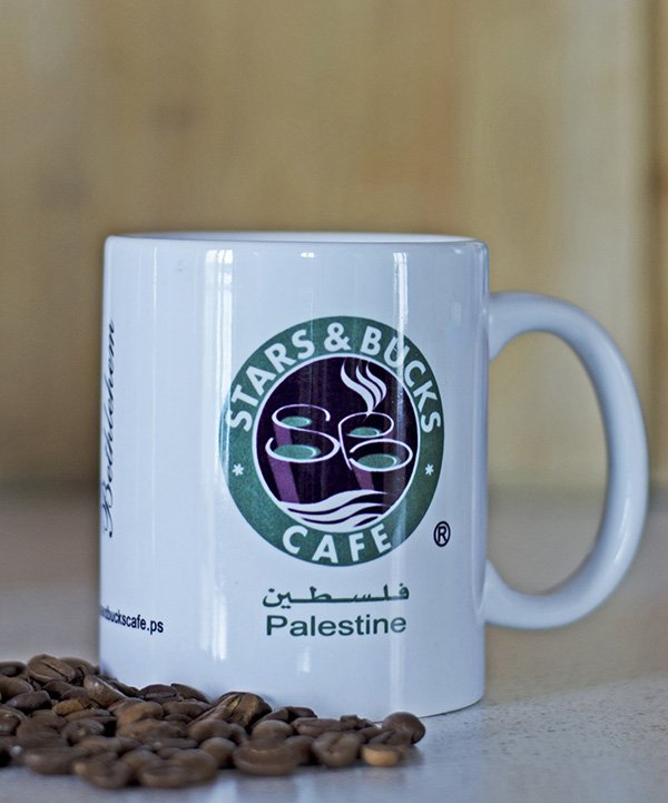 A great west bank souvenir from Palestine is a Stars and Bucks cup for the coffee lover in your life!