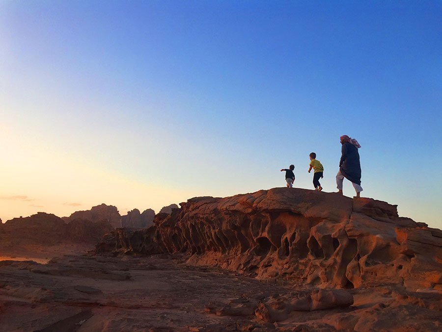 Sunset hiking in Wadi Rum Jordan