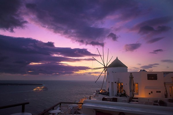 Santorini Blog Windmills and Sunset Scene