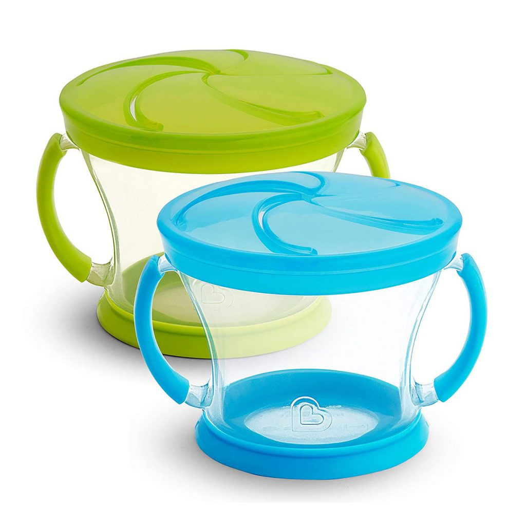 Munchkin snack cup for airplane toddler snacks.